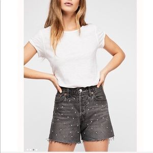 Levi's Wedgie Denim Shorts in bling bling black